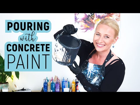 Acrylic pouring - with CONCRETE PAINT😱?! Fluid painting experimenting