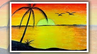 How to draw Sunrise with Oil Pastel, Sunrise scenery drawing