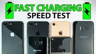 iPhone 8 vs S8 vs iPhone 7 vs S7 vs Pixel XL - FAST CHARGING SPEED TEST!