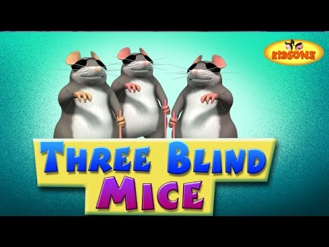 Three Blind Mice | 3D Rhymes For Children with Lyrics | 3 Blind Mice See How They Run - KidsOne