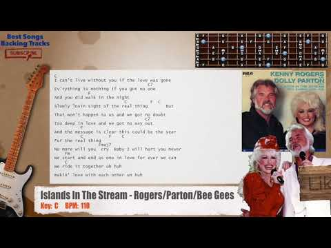 Islands In The Stream - Rogers/Parton/Bee Gees Guitar Backing Track with chords and lyrics