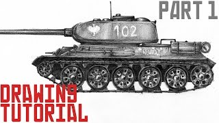 How to draw tank T-34 - drawing tutorial (part 1)