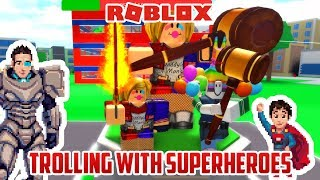 TROLLING WITH SUPER HEROES! Roblox 2 Player Tycoon