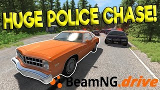 CRAZY HUGE POLICE CHASES & FUGITIVE ESCAPE! - BeamNG Gameplay & Crashes - Cop Chases & Crashes