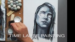 "Acrylic Portrait Painting process Time Lapse— Woman portrait "" I'm not crying "" speed painting"