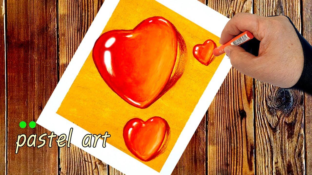 How to Draw Heart Water Drops with Oil Pastel 초보자들도 쉽게 하트 물방울 그리는 방법 왕초보 오일파스텔 강좌 pastel art