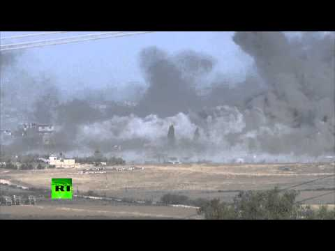 RAW  IDF massive bombing in Gaza minutes before 12hr ceasefire