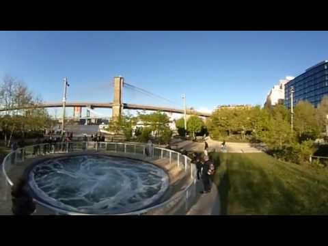 Walk through the Brooklyn Bridge park installation by Anish Kapoor in 360(virtual reality)