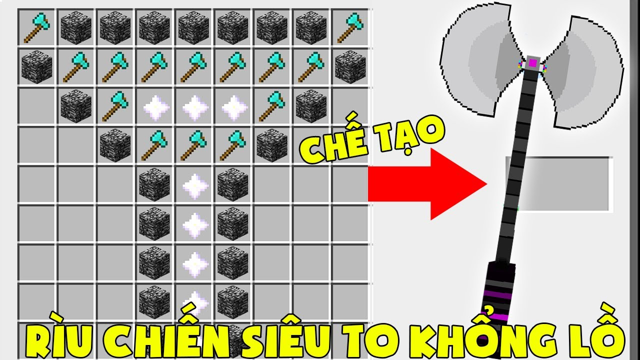 T Gaming Thử Thách Chế Tạo Rìu Chiến Siêu To Khổng Lồ Vip Nhất Minecraft ** Noob Chặt Cả Thế Giới ??