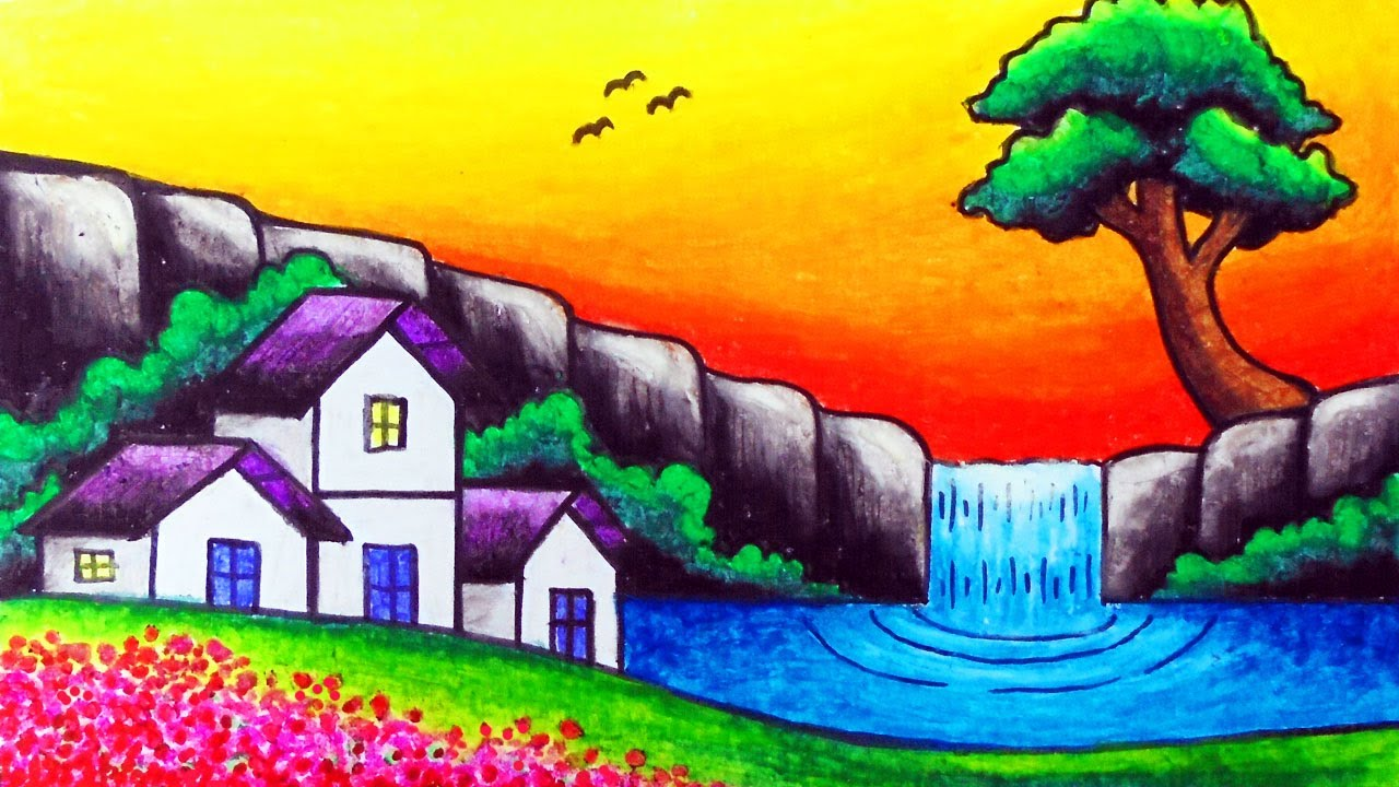 How To Draw Nature Scenery Of Waterfall Sunset And Houses Easy Waterfall Sunset Scenery Drawing Youtube