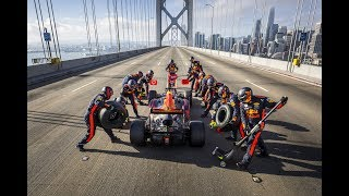 Watch a Formula 1 pit stop on stunning Bay Bridge and a small detour to Vegas