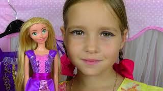 Sofia became Princess Rapunzel with Magic Hair