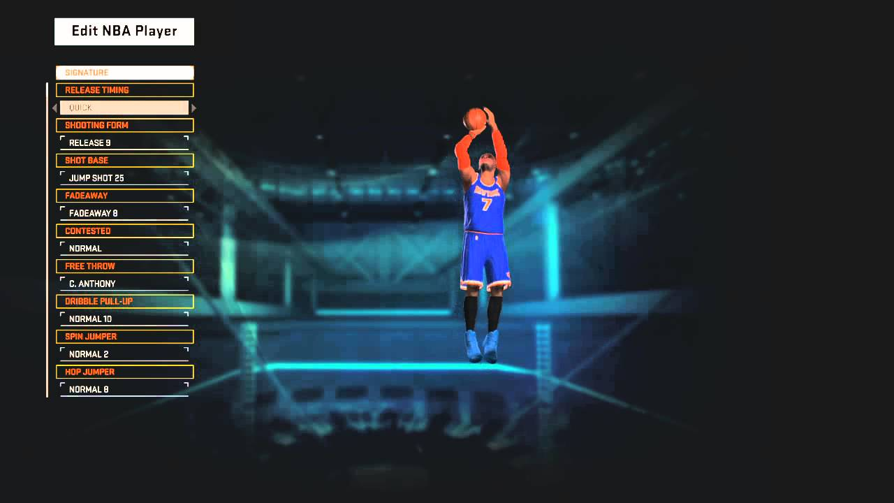 Carmelo Anthony's jumpshot for NBA 2K15 - YouTube