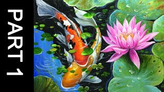 Paint koi fish with Acrylic on canvas - PART 1