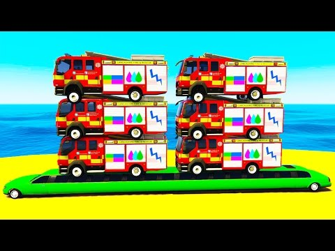 Thumbnail: COLOR FIRE TRUCK on Long Car & Spiderman Cars Cartoon for Children w Colors for Kids Nursery Rhymes