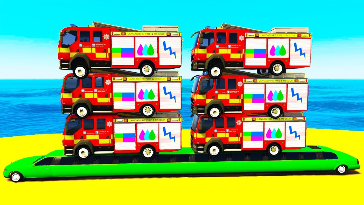 - COLOR FIRE TRUCK On Long Car & Cars Cartoon For Children W Colors
