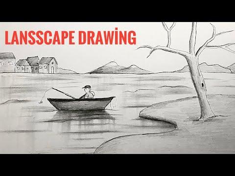 Landscape Drawing For Beginners With Pencil Sketching   Karakalem Çizimleri   Manzara Resmi Çizimi