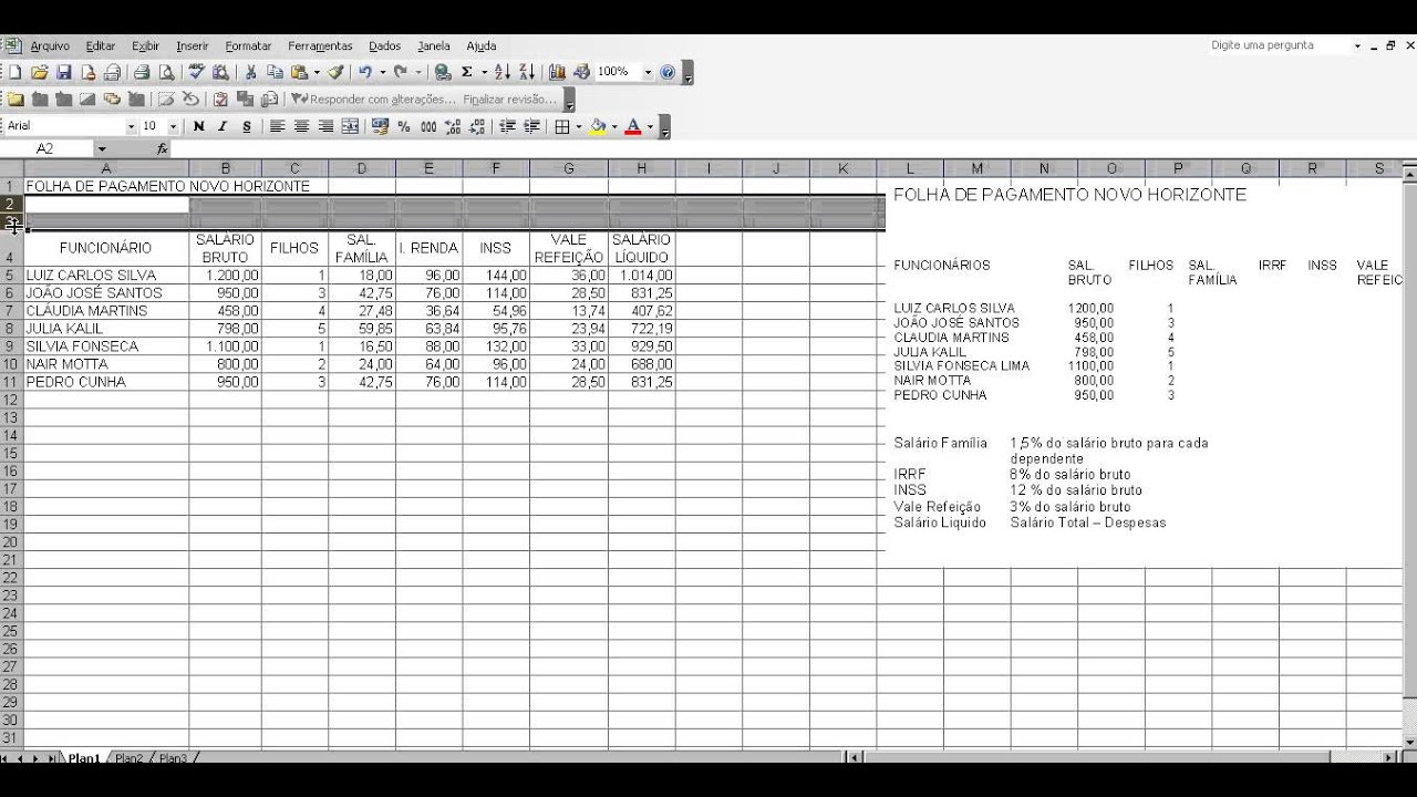 6 Excel Planilha Folha De Pagamento Youtube