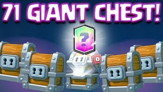 Clash Royale - 71 GIANT CHESTS OPENING! Legendary From Giant Chest WTF?! INSANE Giant Chest Gemming!