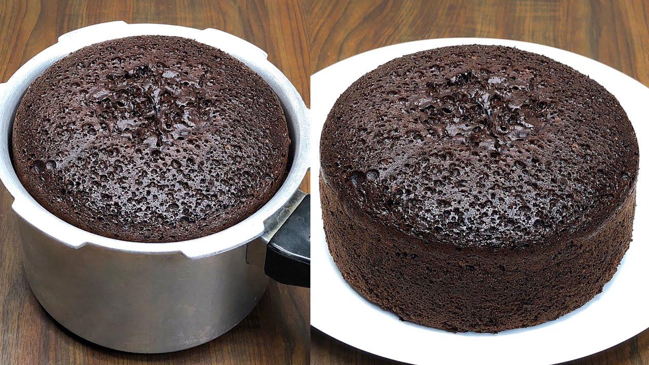 Chocolate Sponge Cake In Pressure Cooker Basic Sponge Cake Recipe Chocolate Cake Without Oven Youtube
