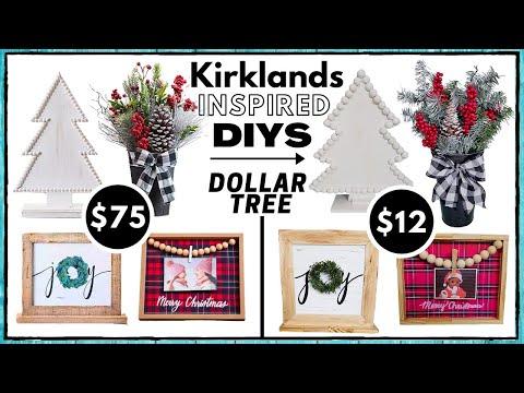 2 Dollar Tree Kirkland S Inspired Diys Christmas Tree Wood Plank Art Look For Less High End Youtube