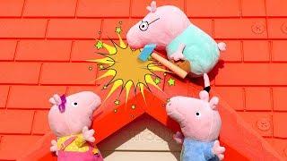 Vidéo en français pour enfants. La famille de Peppa Pig répare le toit