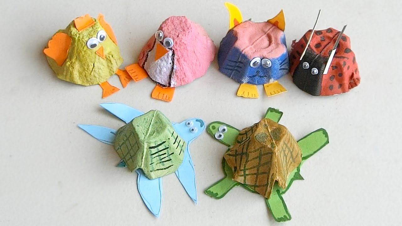 How To Make Animals From Egg Cartons Crafts For Kids Youtube