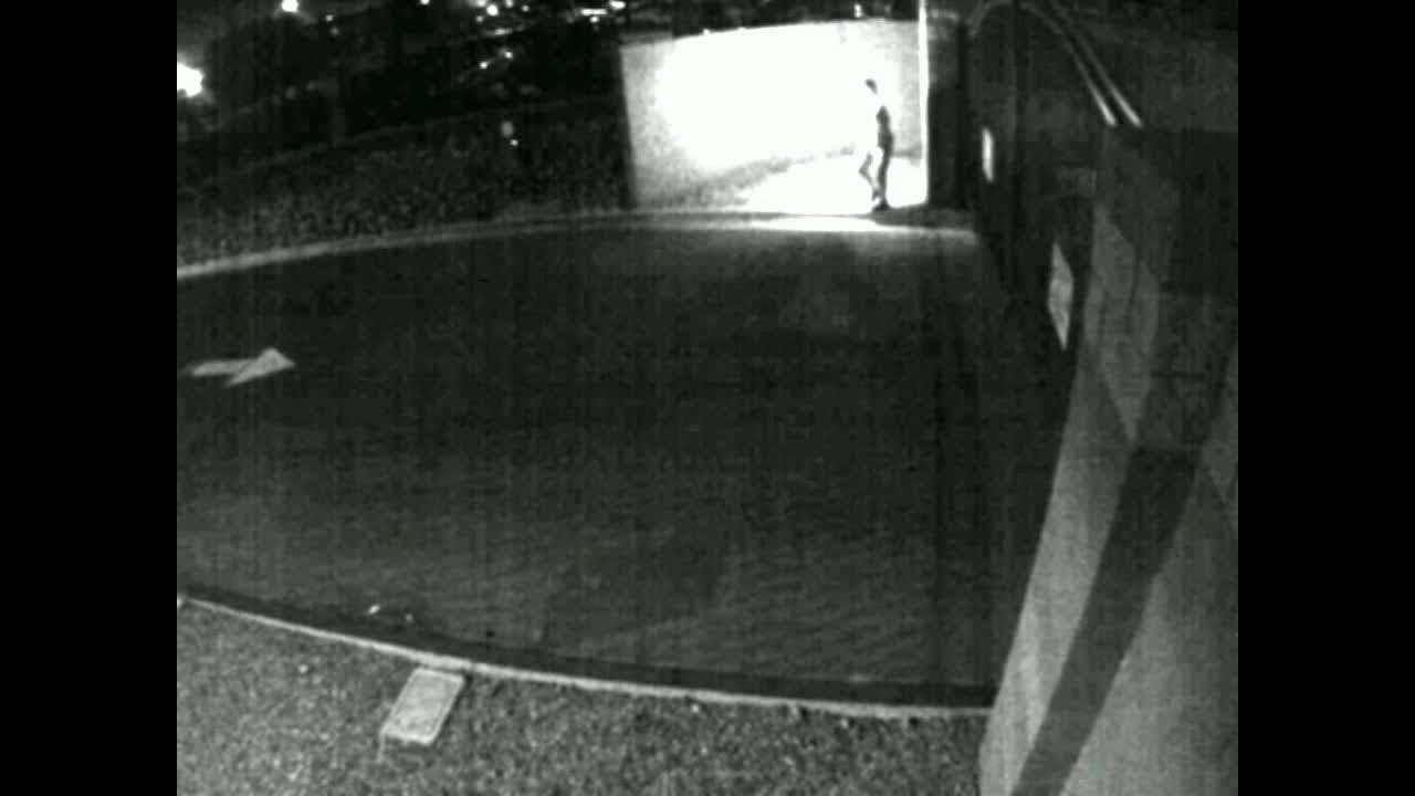 Somebody Threw A Molotov Cocktail @ An L.V. Police Substation - Surveillance Video