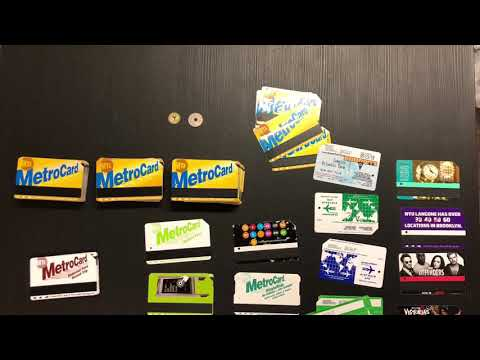 Epoxy tabletop with metrocards and subway tokens