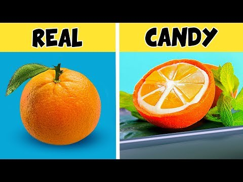 8 DIY Making Fruit Out Of Candy / Candy Fruit vs Real Fruit Challenge!