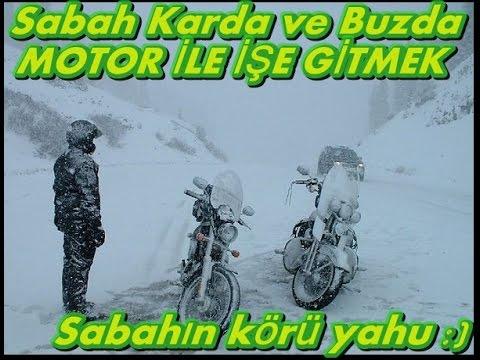 Sabah 7:30 da Karda ve Buzda Motosiklet ile İşe Gitmek/ Kar Küreme