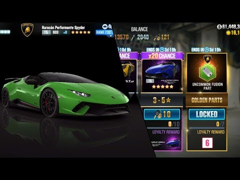 CSR Racing 2 | 100 Gold Keys - 10 Pulls + 20 Performante Spyder Crates!