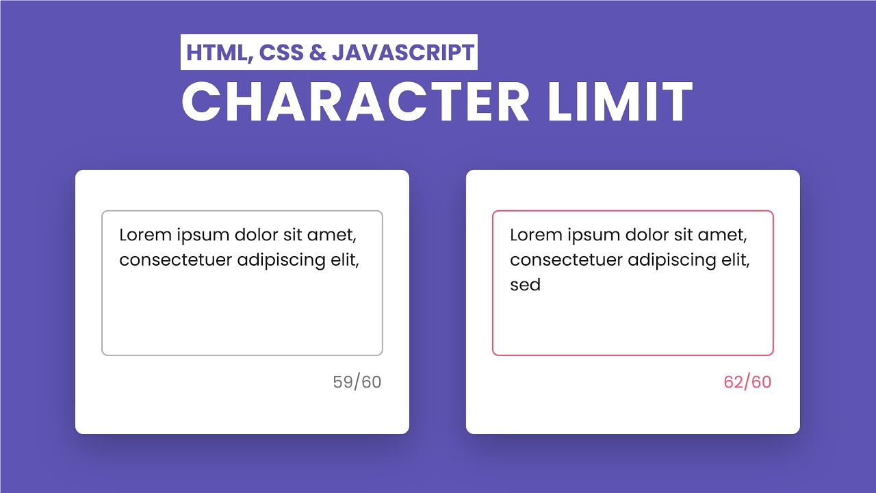 Limit Character In Input Field | HTML, CSS And JavaScript
