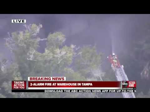 Hillsborough Co  Fire Rescue responded to a 2 alarm fire at a warehouse on Barry Road in Tampa