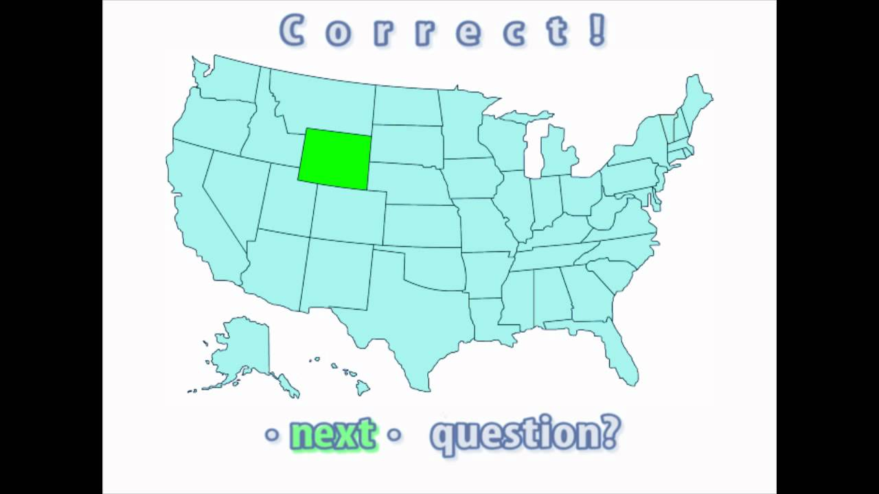 Interactive United States Map Quiz Correct Wyoming Location YouTube
