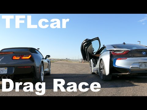 2015 Chevy Corvette Stingray Vs Bmw I8 Drag Race V8 Vs Hybrid Tech