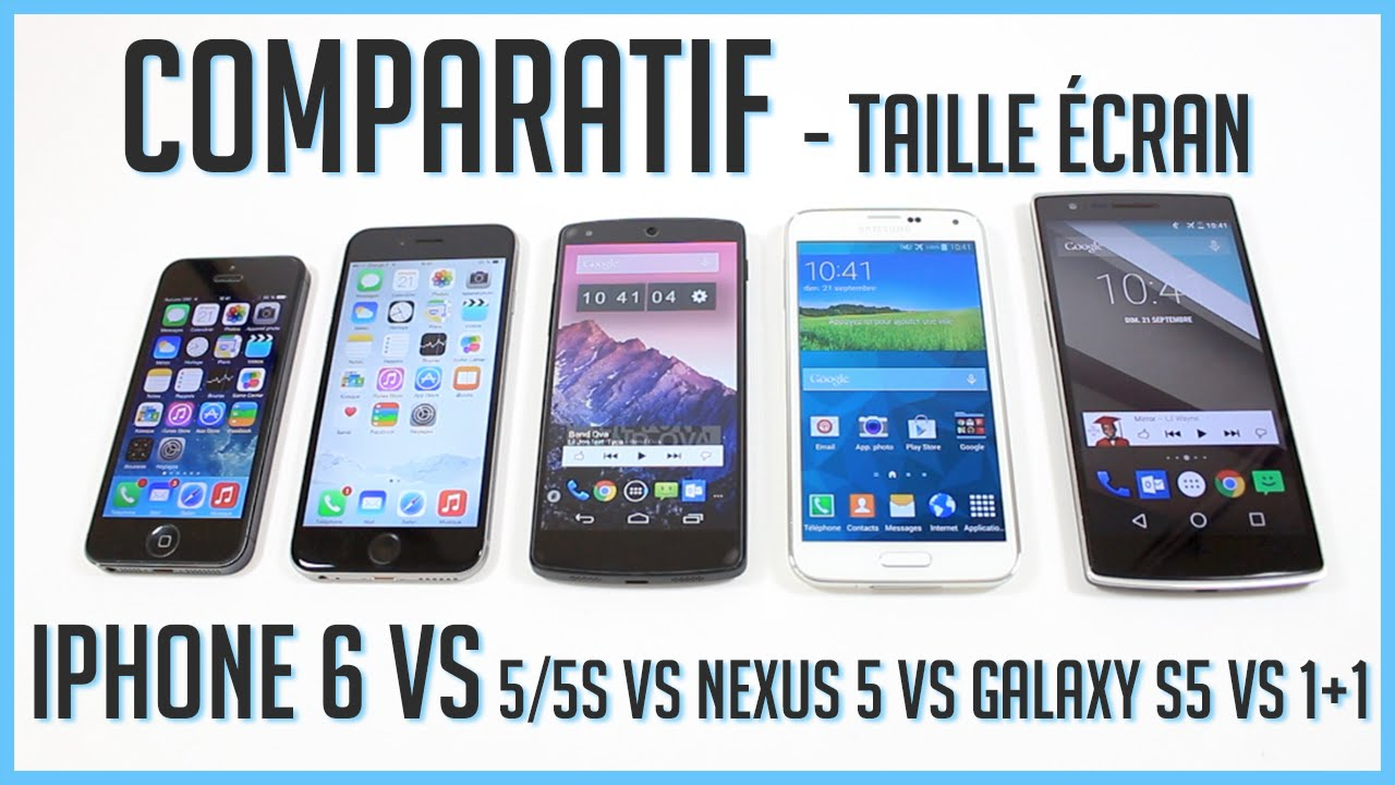 iphone 6 vs iphone 5s 5 vs galaxy s5 vs one plus one vs nexus 5 comparatif taille de l 39 cran. Black Bedroom Furniture Sets. Home Design Ideas