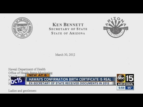Documents: Arizona Secretary of State received confirmation of Obama's birth in 2012