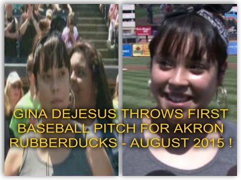 GINA DEJESUS THROWS FIRST PITCH FOR RUBBERDUCKS WHO FEATURED HER ON TEAM POSTER FOR MISSING KIDS !
