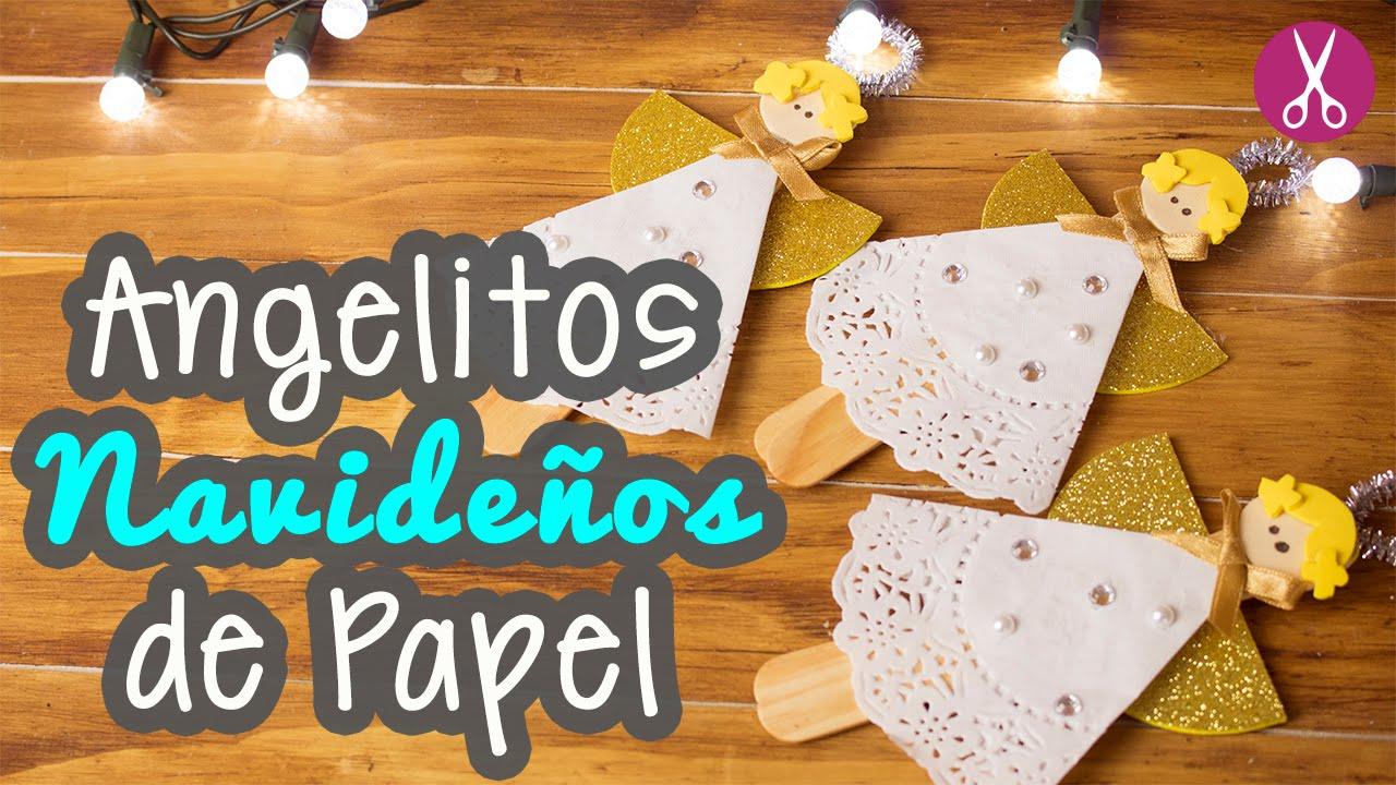 Manualidades para navidad angelitos navide os de papel - Adornos navidenos de papel ...