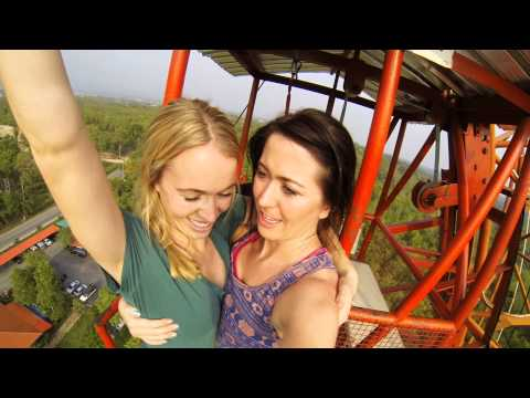 Katie & Emily Bungee Jumping in Chiang Mai Thailand 2014