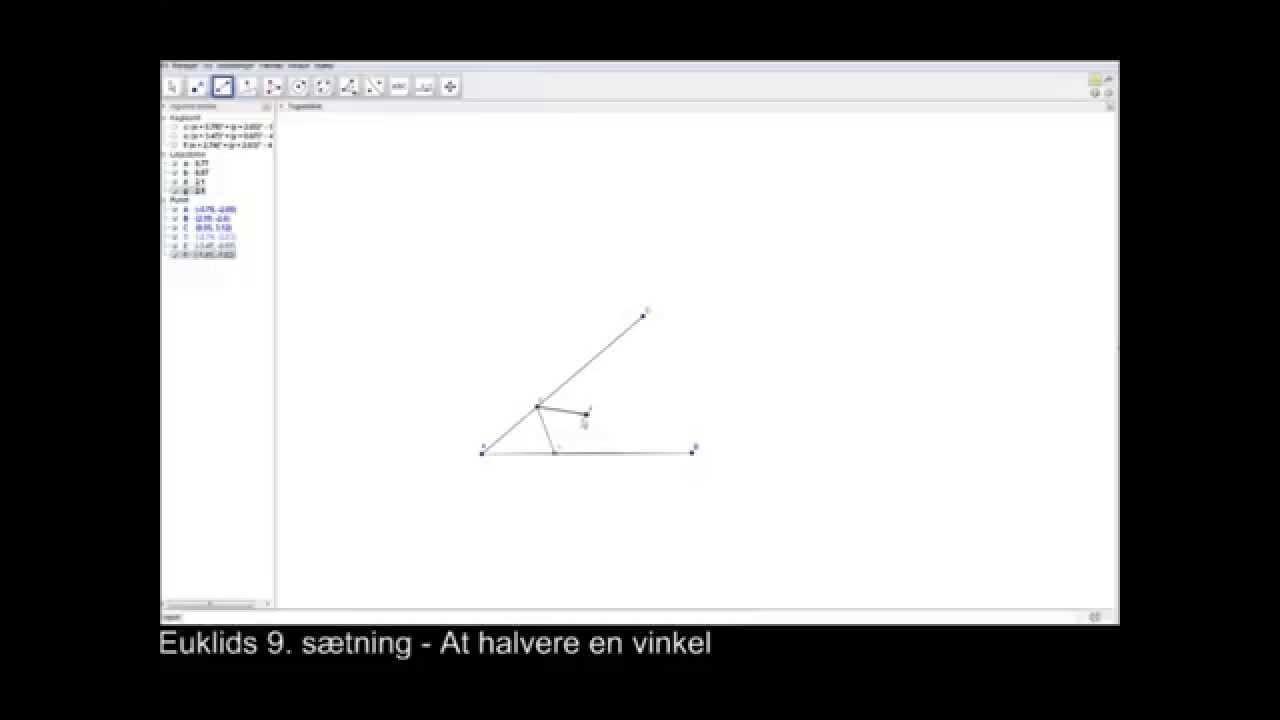 Euklids 9'ende sætning - At halvere en vinkel