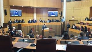 François Hollande devant les élus de l'Assemblée de Corse