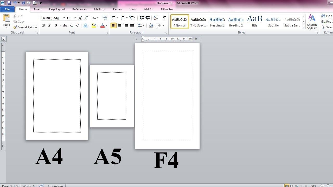 Cara Mengatur Ukuran Kertas Berbeda Beda Di Satu File Ms Word Youtube