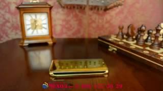 Фирменный оригинальный чехол-книжка Samsung Galaxy A7 2016 / A7100 / A710F / золотой