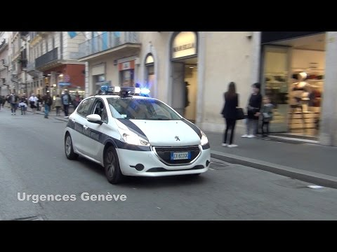 Police car responding in Rome