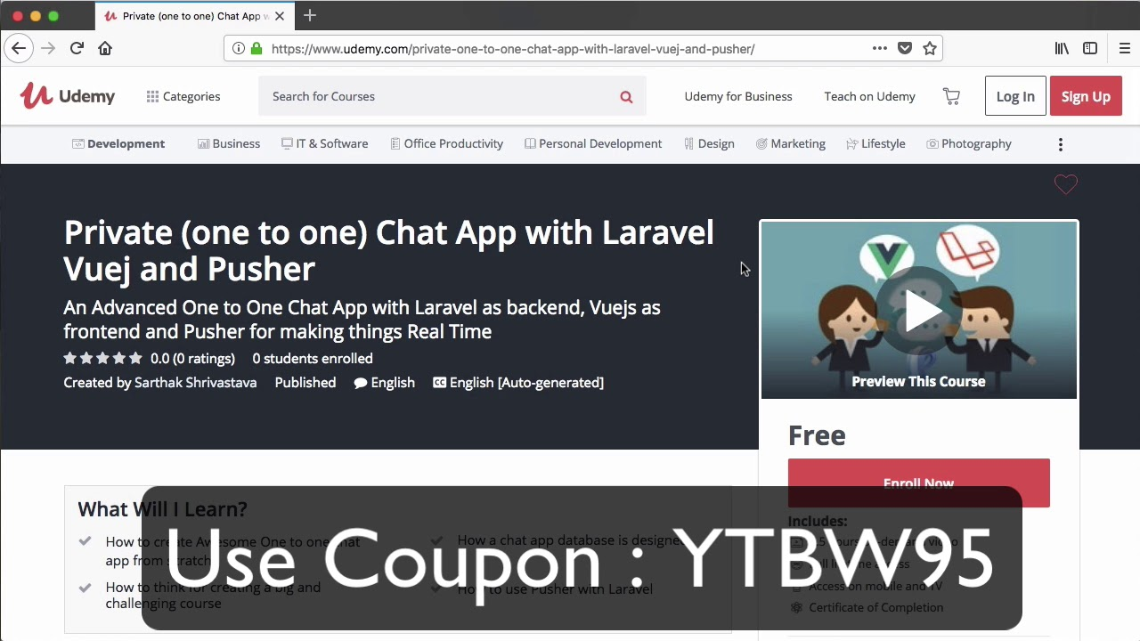 One to One Private Chat App with Vuejs Laravel Pusher | Free Udemy Trial