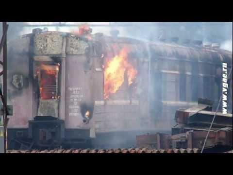 На ЖД путях сожгли вагон 1952 года