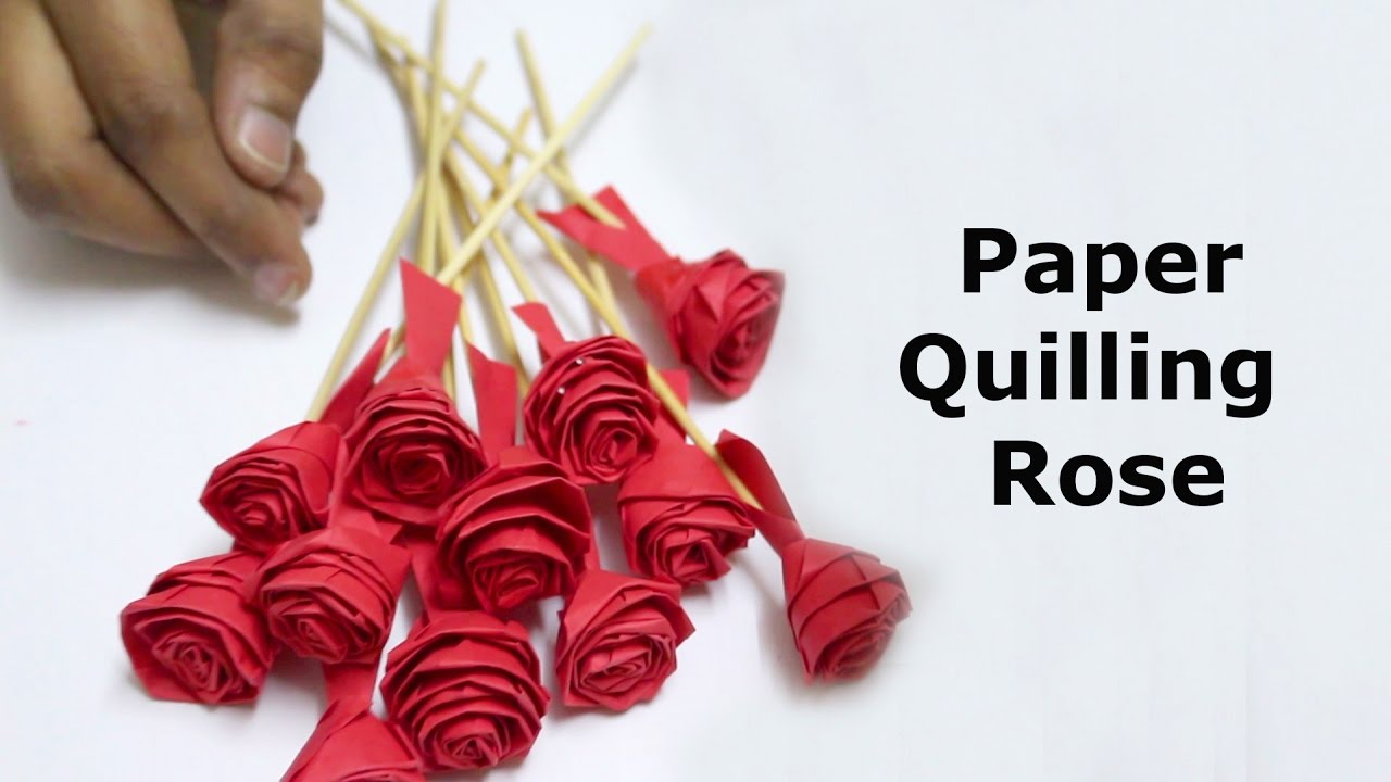 Paper Quilling Rose Flowers Step by Step - YouTube for How To Make Paper Quilling Rose  126eri