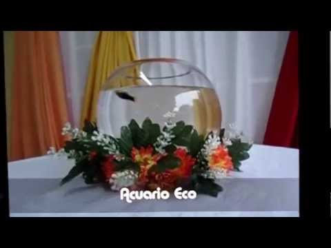 Pecera Para Centro De Mesa Con Peces Ornamentales